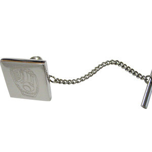 Silver Toned Etched Baseball Glove Tie Tack